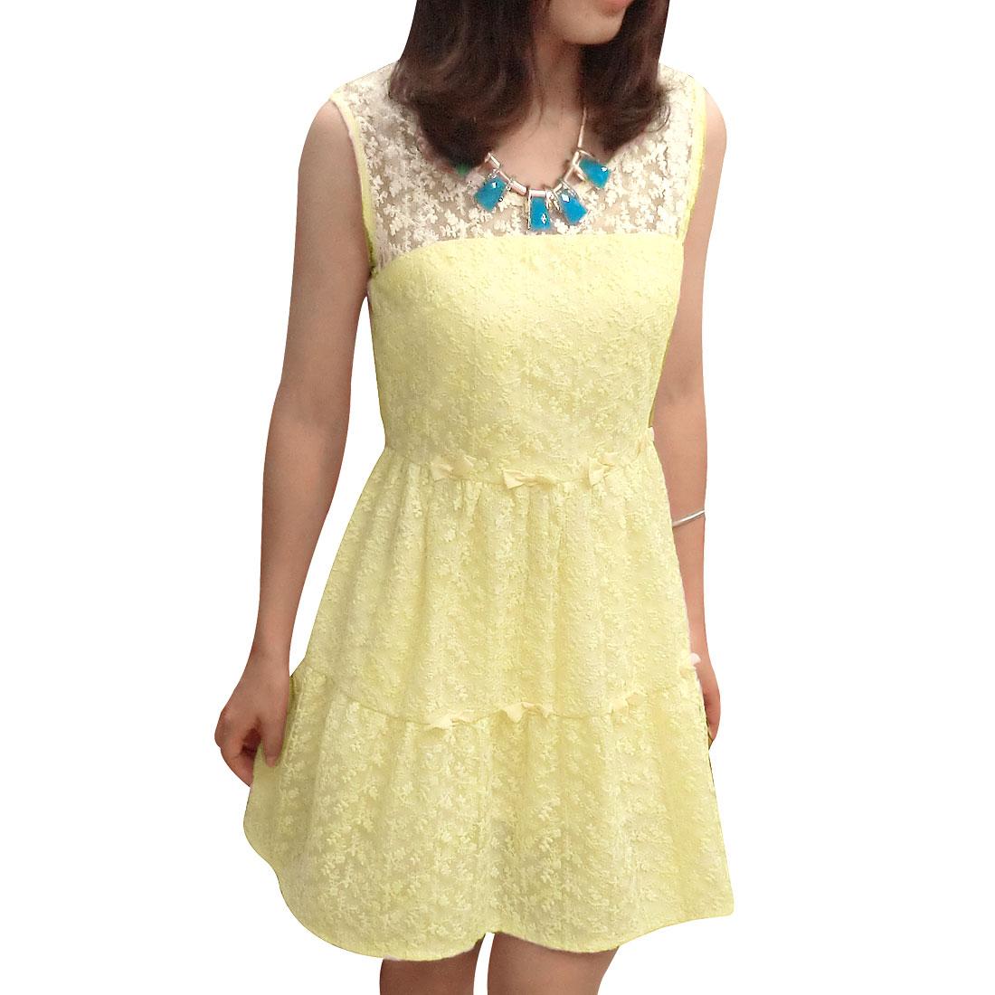 Woman Inner Lining Yellow Flowers Laced Print Elegant Mini A Line Dress XS