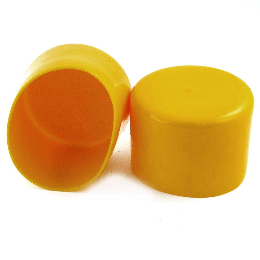 2 Pcs 83mm Dia Yellow Rubber Furniture Chair Leg Covers Floor Protectors
