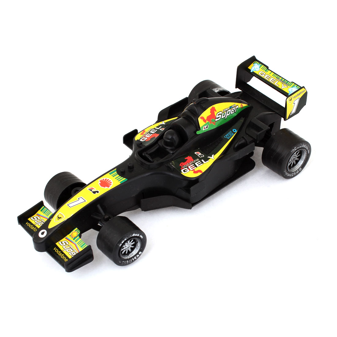 Child Kid Gift Pull Back and Go Speed Up Black Yellow Plastic Sports Car Toy