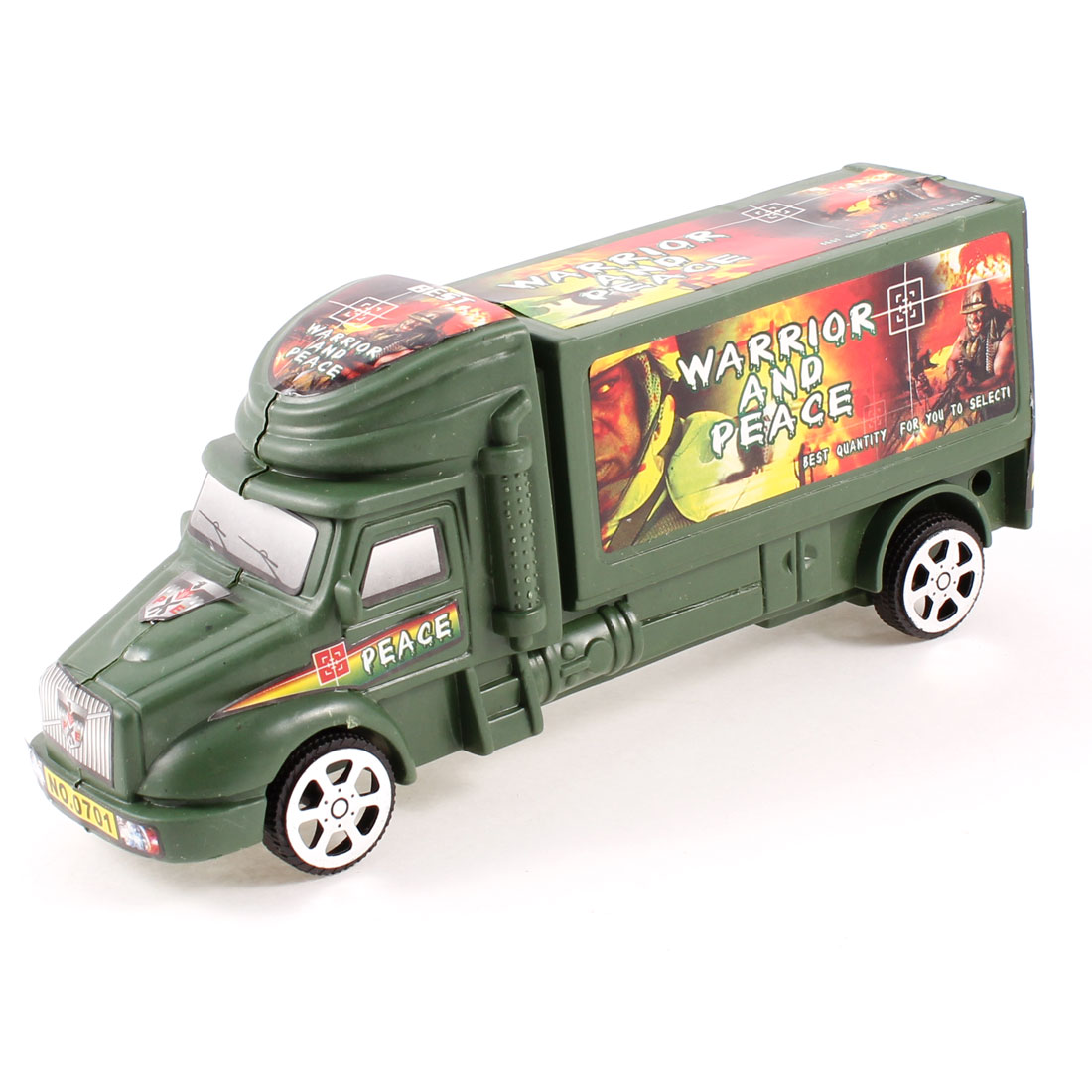 Plastic 4 Wheels Police Car Model Toy Olive Green for Children Kids