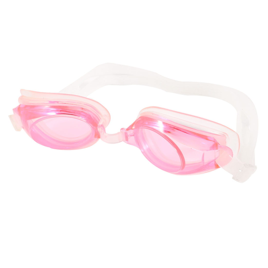 Children Adjustable Headstrap Pink Clear Swimming Goggles Eyeglasses