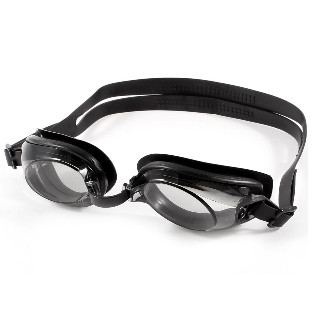 Kids Elastic Band Oval Shape Clear Lens Black Frame Swimming Goggles