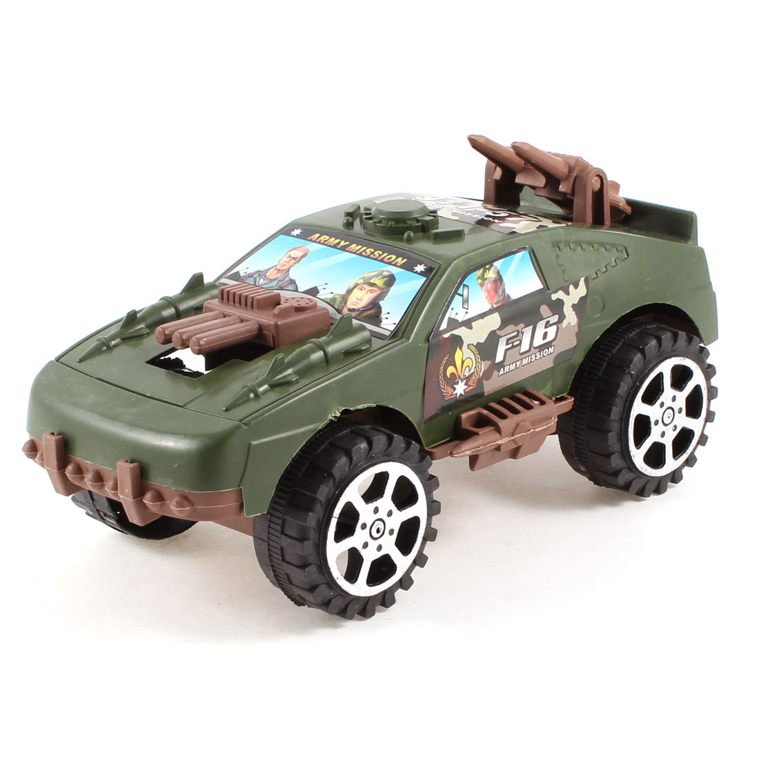 Green Black Plastic Emulational Battle Car Pull String Toy for Kids