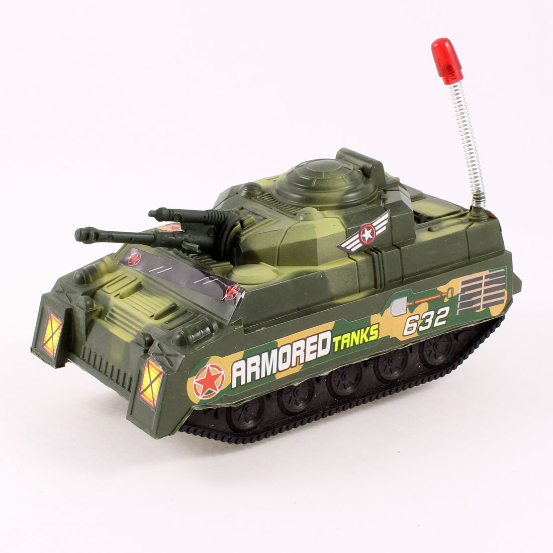 Children Plastic Small Tank Model Pull String Toy Green Black
