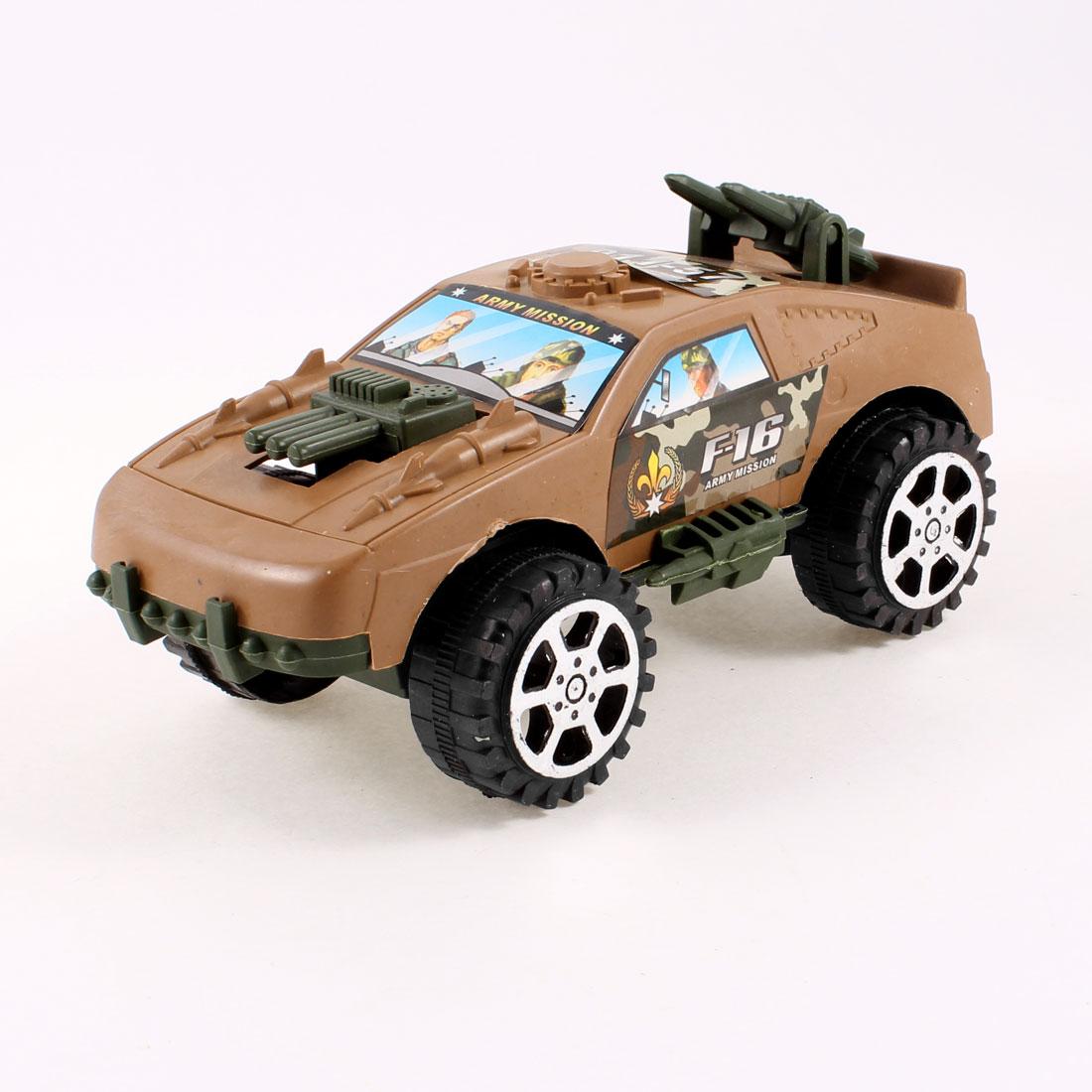 Khaki Black Plastic Emulational Battle Car Pull String Toy for Kids