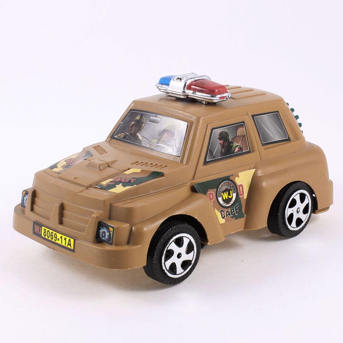 Khaki Black Plastic Running Police Car Pull String Toy for Children