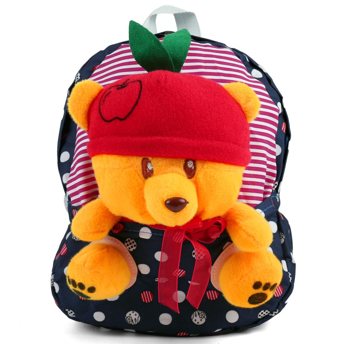 Kids Buckle Straps Zip Up Splice Solid Bear Backpacks Navy Blue Yellow