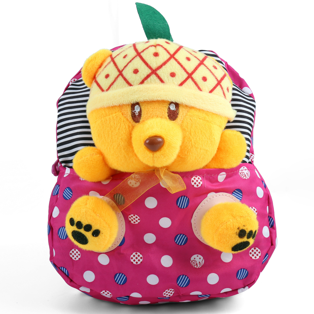 Kids Zip Closure Stripes Solid Bear Backpacks Fuchsia Yellow