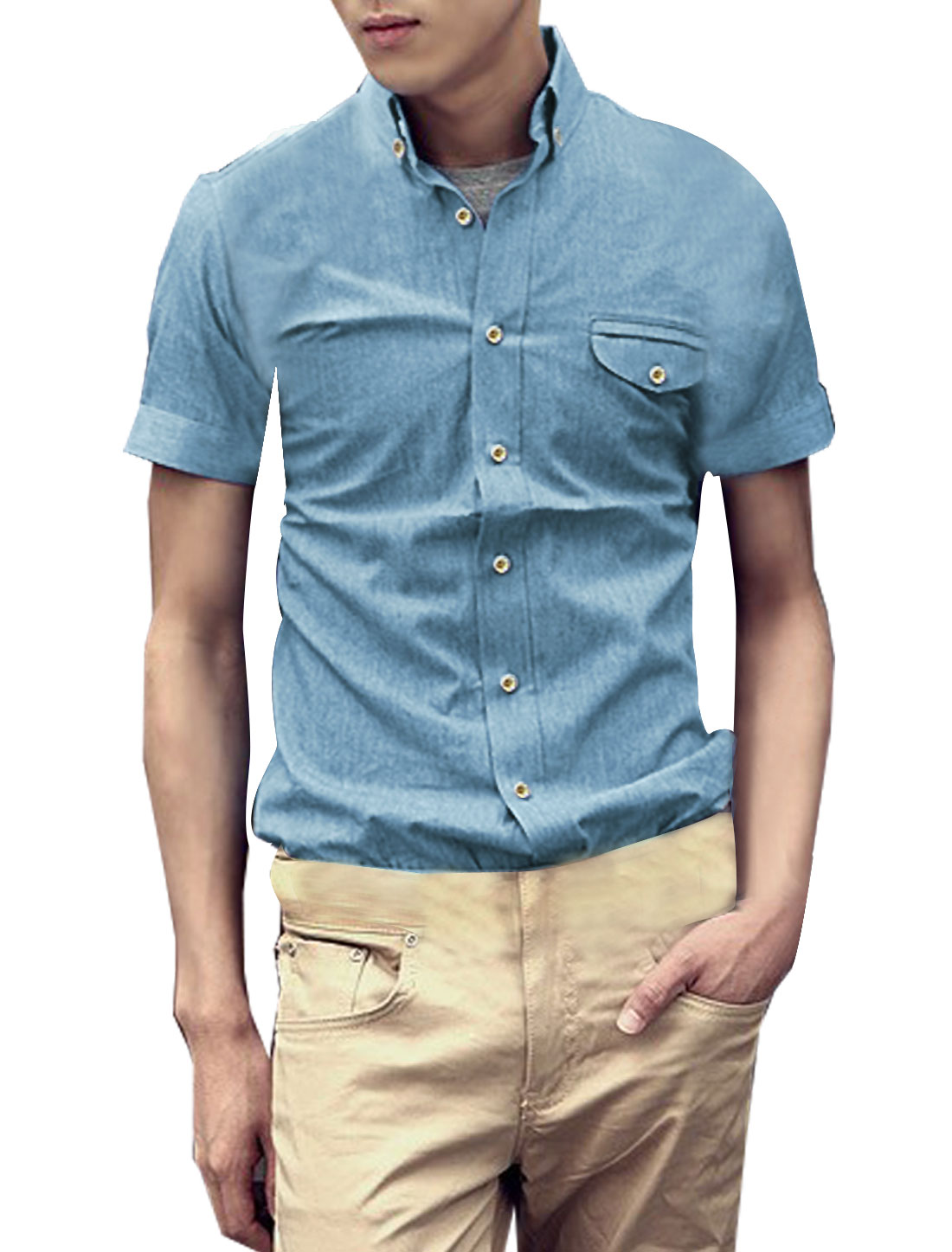 Man Light Blue Point Collar Button Down Round Hem Denim Shirts L