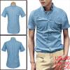 Man Korean Style Buttoned Cuffs Short Sleeve Casual Denim Shirts XL