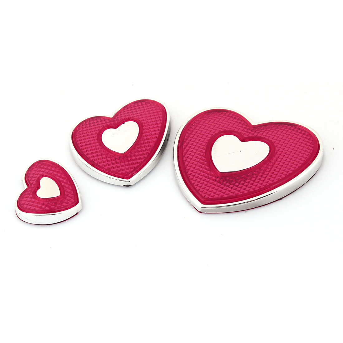 Silver Tone Red Heart-shaped Adhesive Emblem Door Car Badge Stickers 3 Pcs