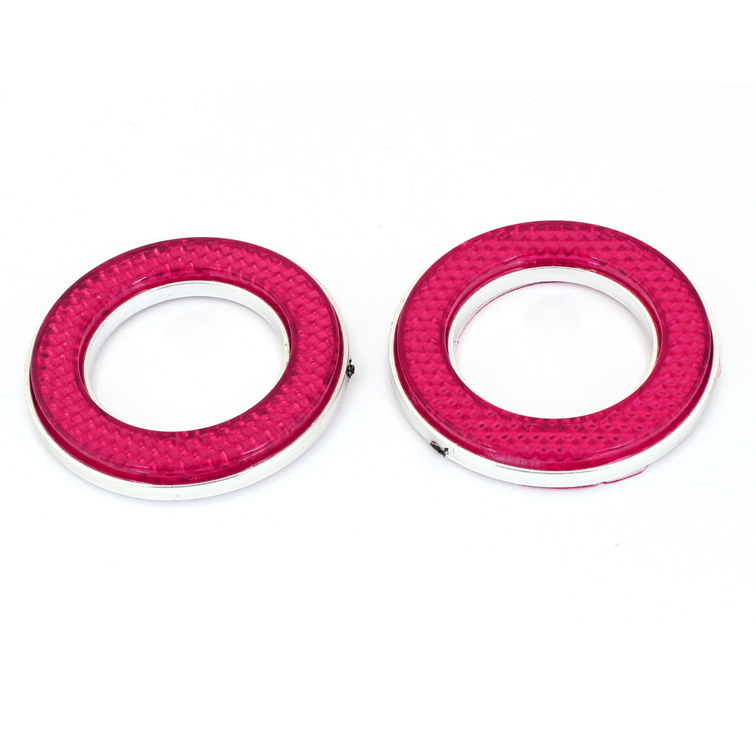 Vehicle Car Exterior Silver Tone Red Circle Badge Emblem Stickers 2 Pcs
