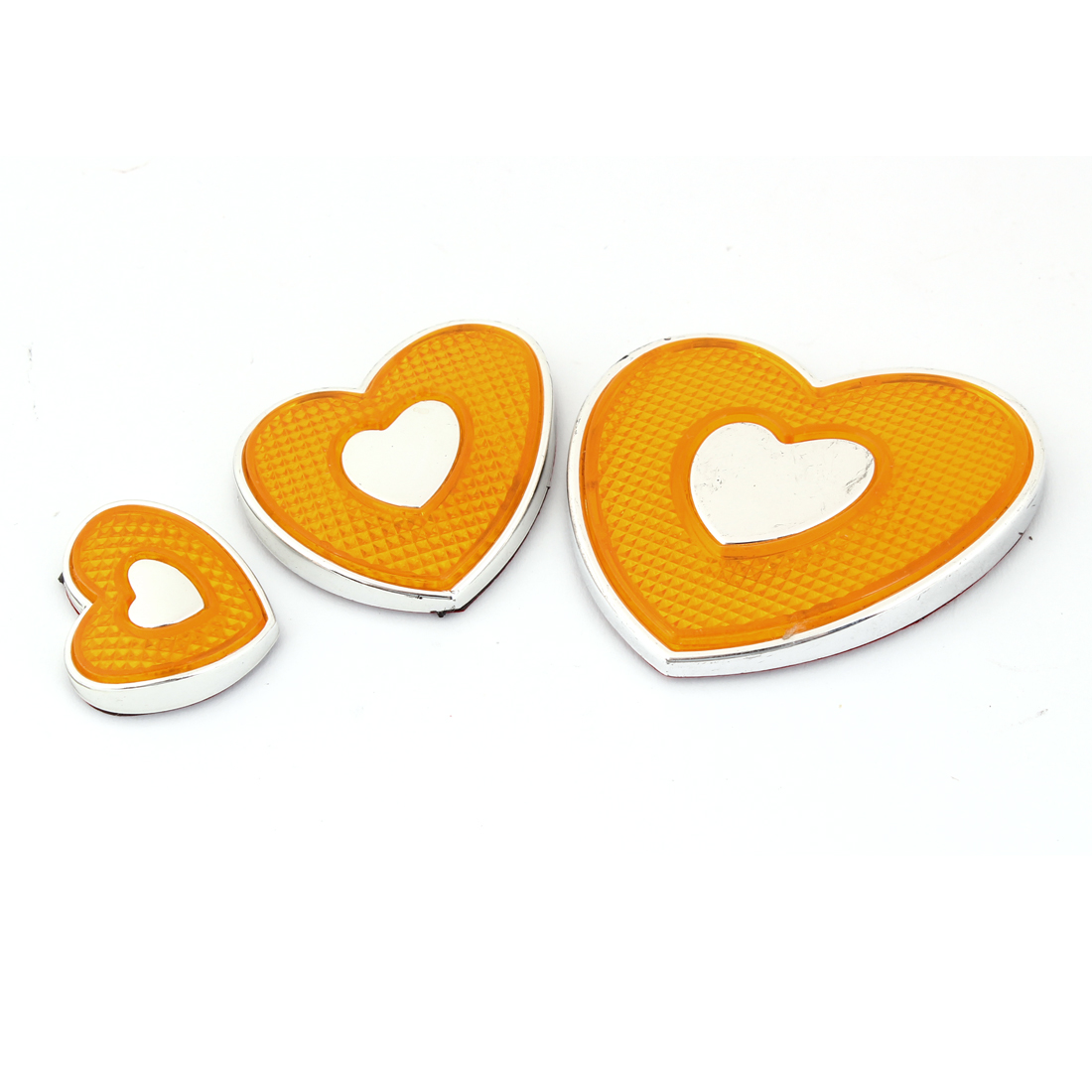 3 Pieces Silver Tone Yellow Heart-shaped Auto Car Emblem Decal Badge Stickers