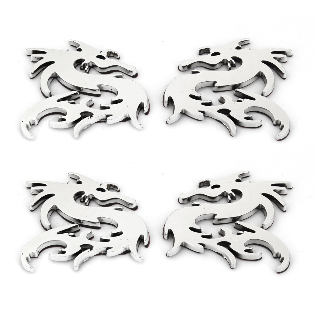 4PCS Silver Tone Plastic Dragon Shaped Adhesive Car Automobile Badge Stickers