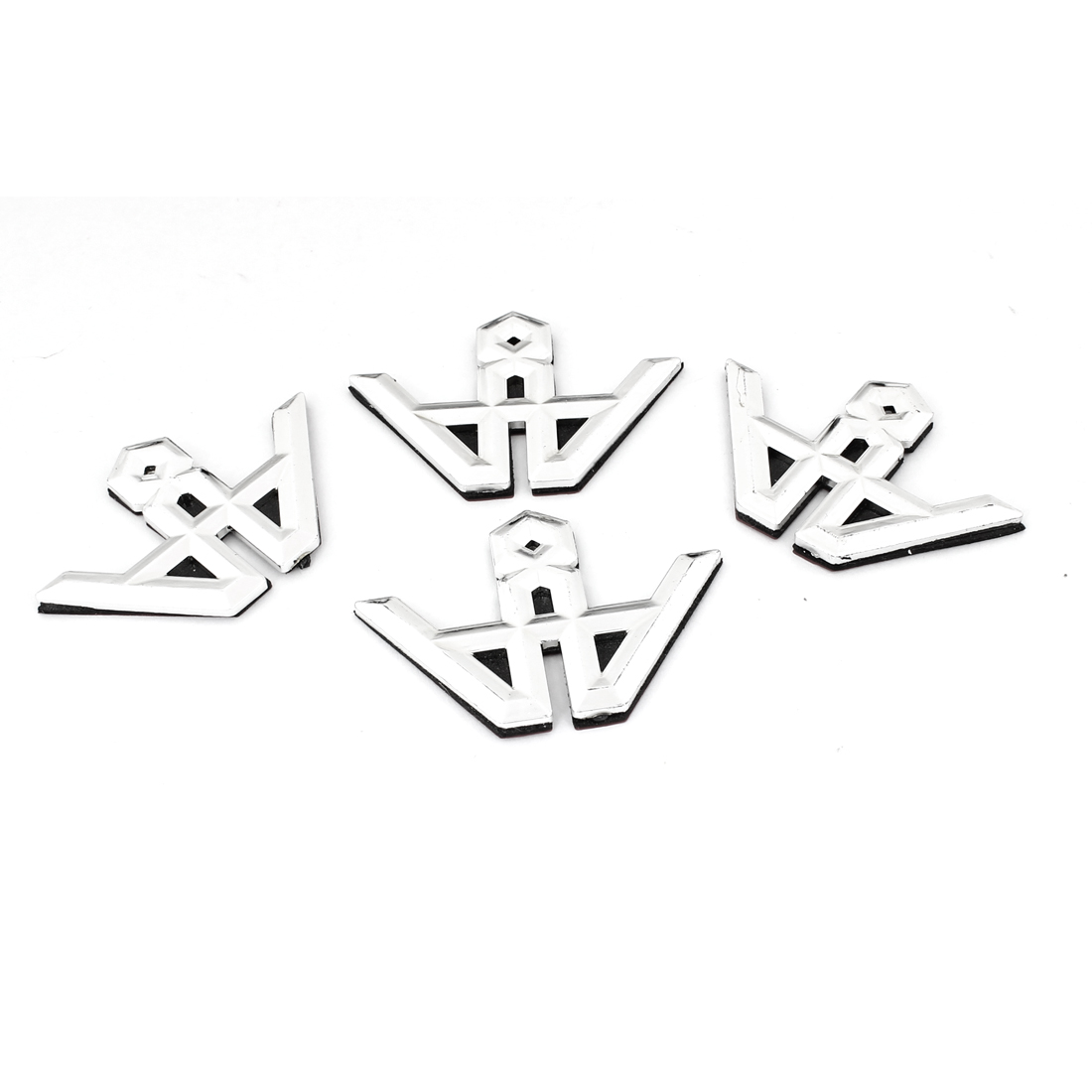 4PCS Silver Tone Plastic Self Adhesive Badge Stickers for Car Automobile