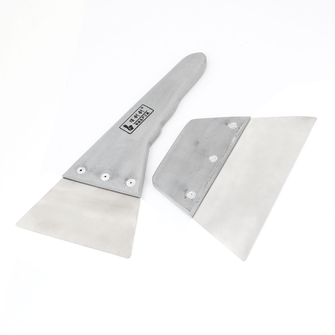Automobile Car Gray Plastic Handle Stainless Steel Blade Film Scraper 2 Pcs