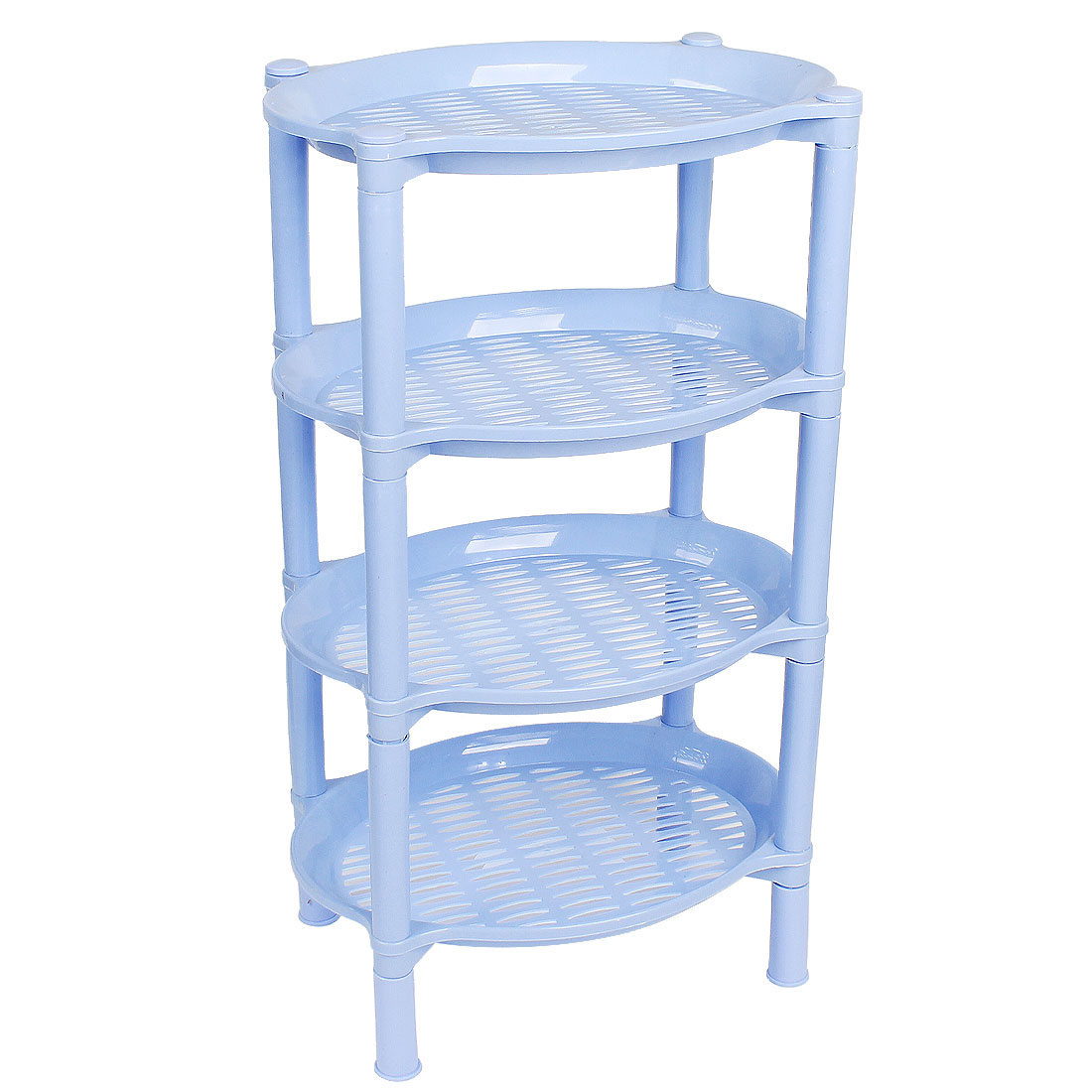 Bathroom Light Blue Floding 4 Tier Multi Purpose Shelf Towel Shampoo Soap Holder