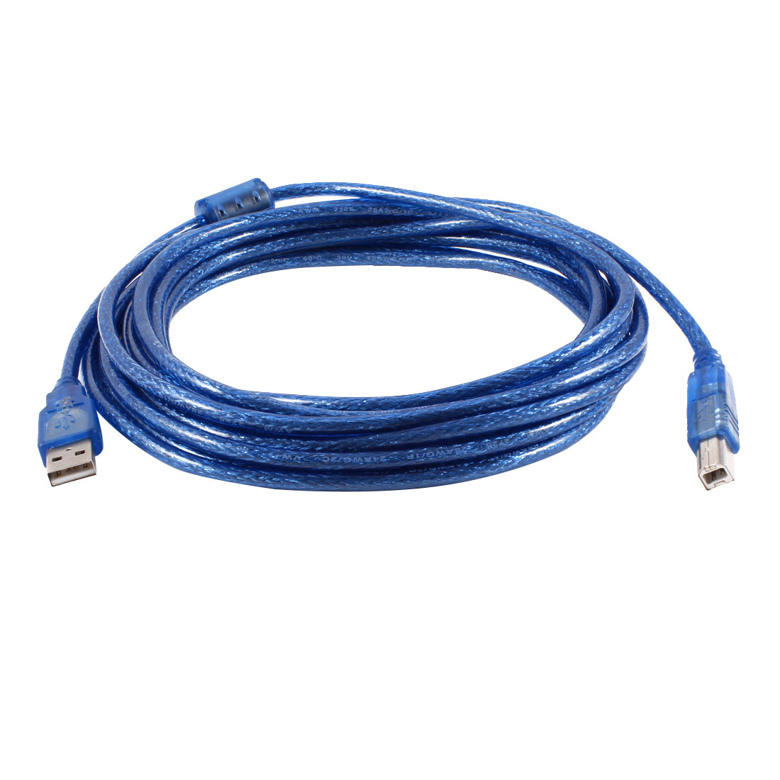 Clear Blue USB 2.0 Type A to Type B M/M Connector Printer Cable 5M 16.4ft Length
