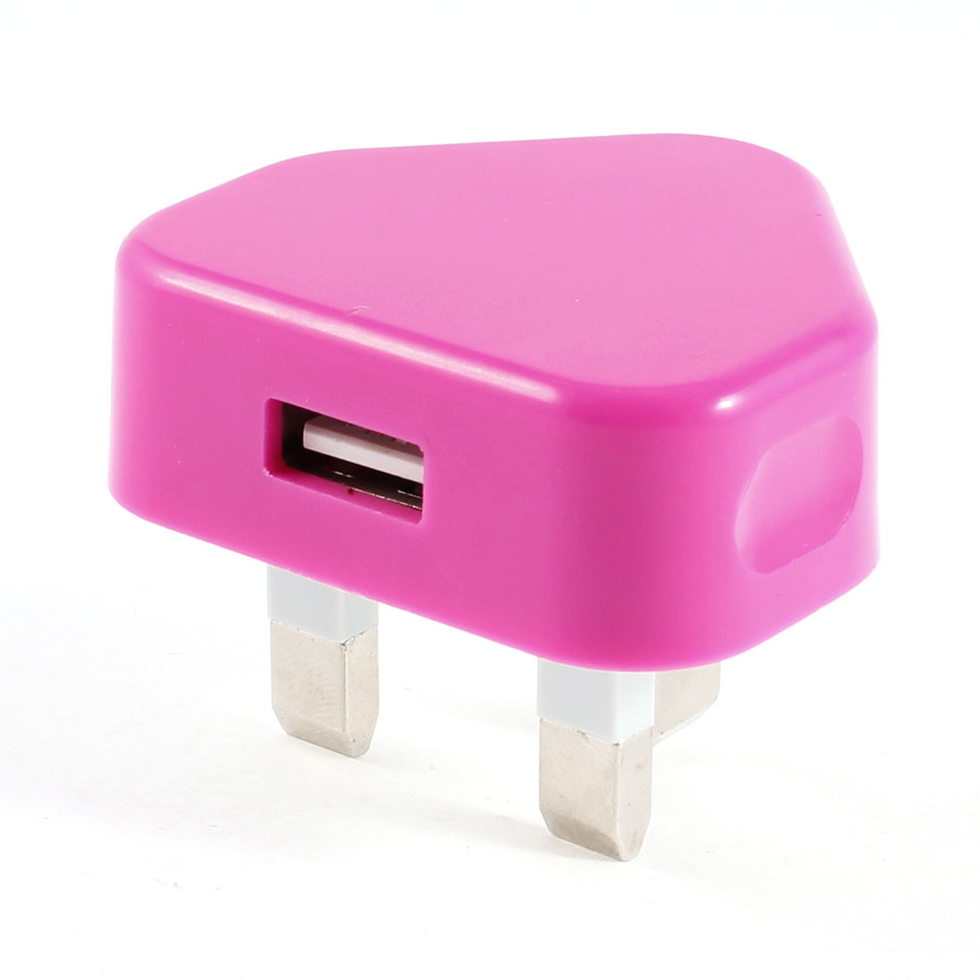100-240V USB UK Plug Wall AC Power Adapter Connector Fuchsia for Cell Phone