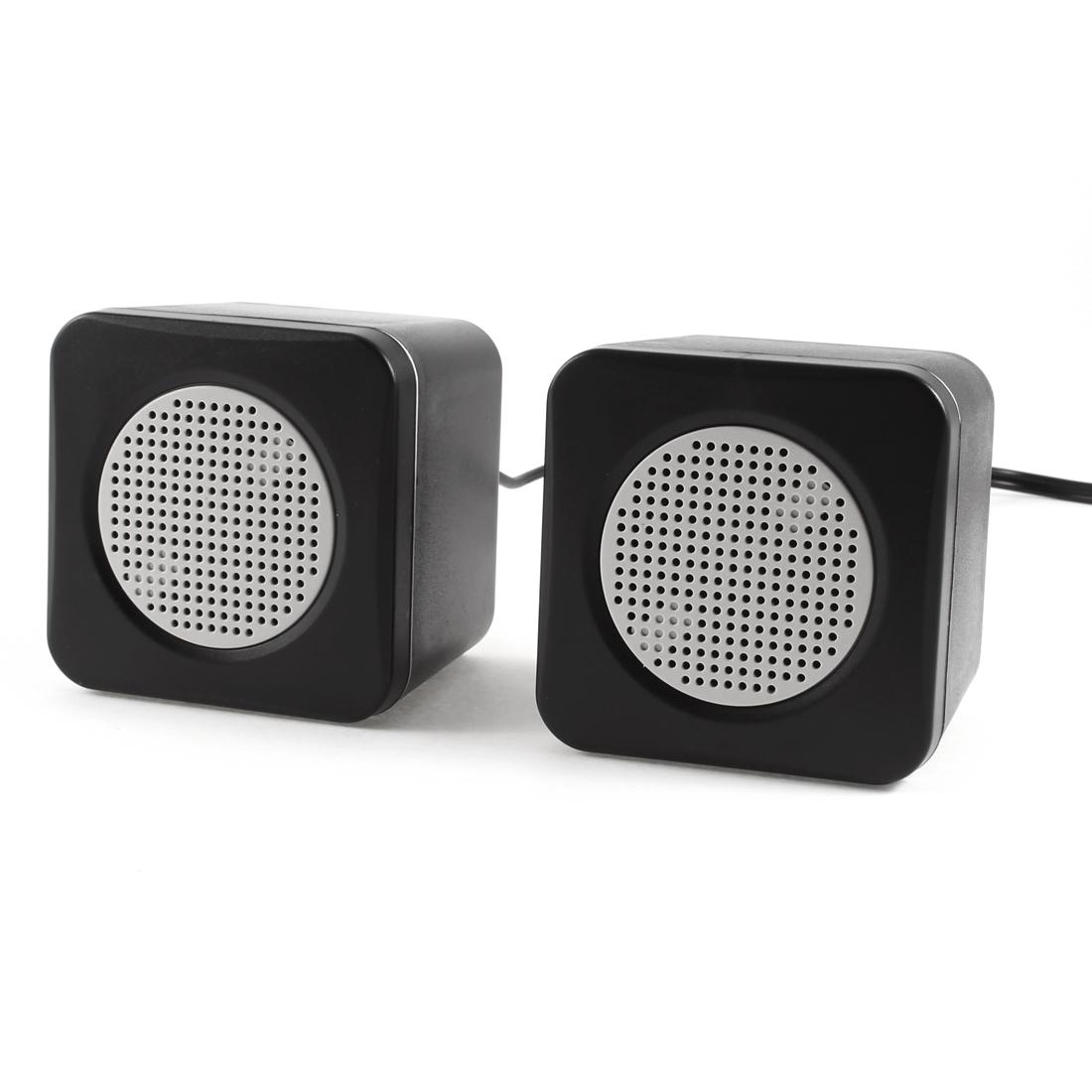 Pair PC Mp4 3.5mm Plug USB 2.0 Mini Multimedia Speaker Loudspeaker Black White