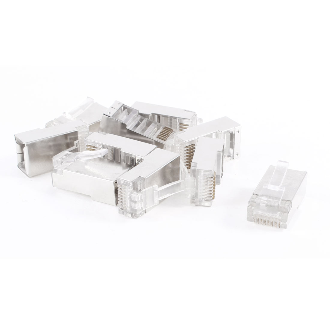 Plastic Metal 8P8C RJ45 Clear Network Modular Connector Plug 10 Pcs