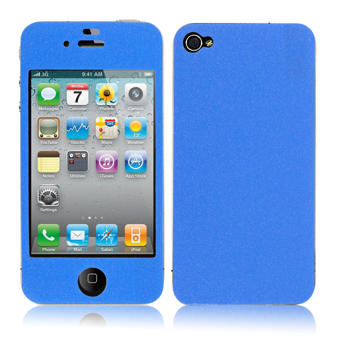 Front + Back Sticker Decal Shield + Screen Protector Blue for iPhone 4 4G 4S 4GS