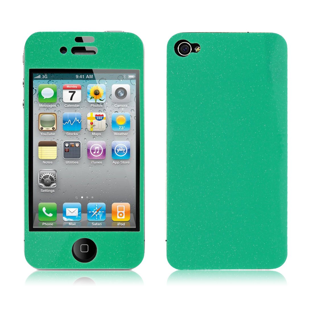 Glittery Powder Green Front Back Sticker Decal Cover + Screen Guard for iPhone 4 4G 4S 4GS