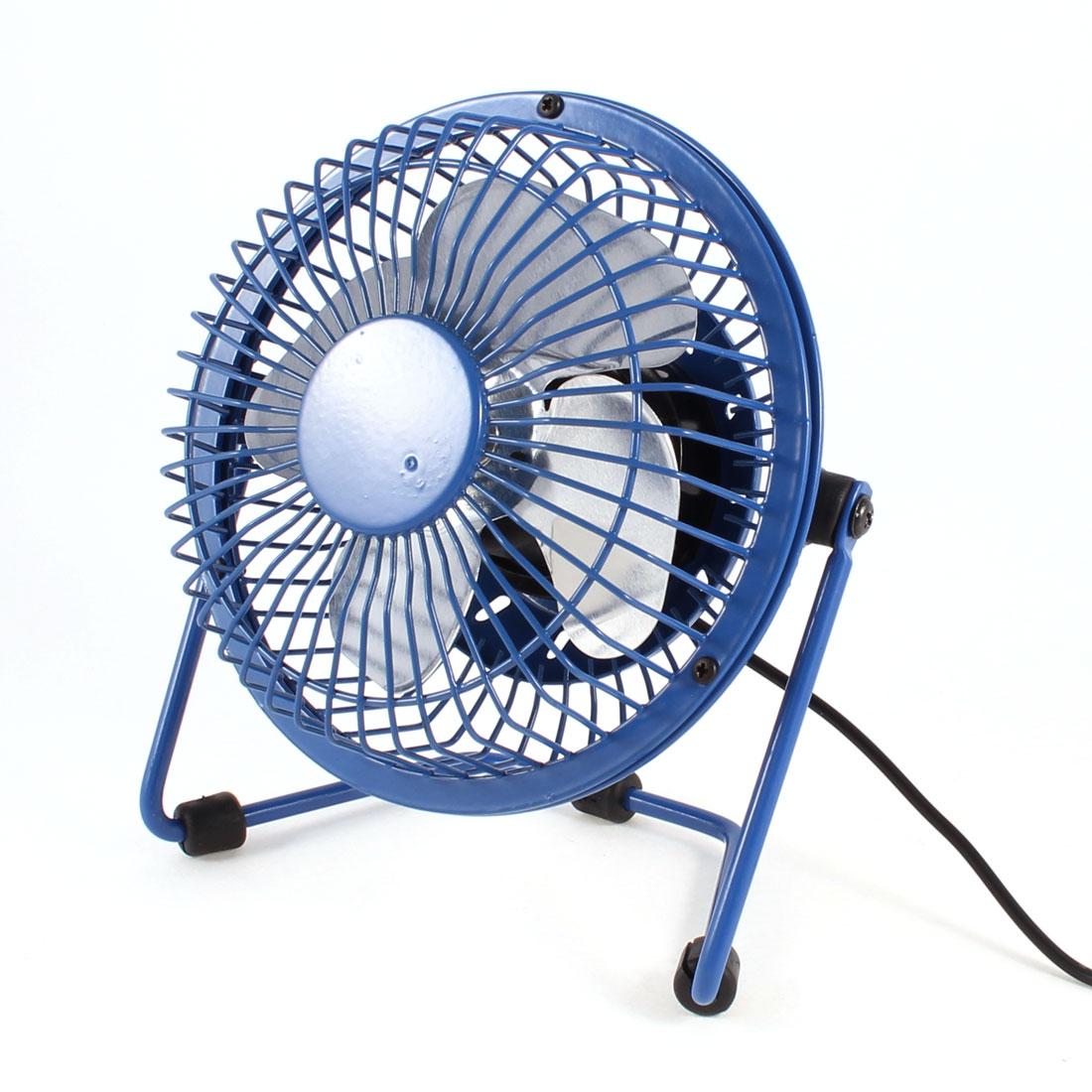 Blue 4 Blades Adjustable Angle Tabletop USB Cooler Cooling Fan