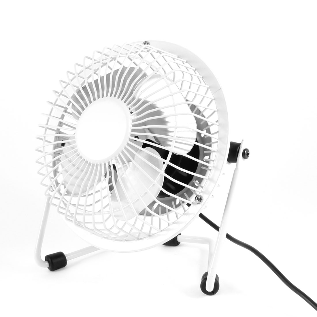 Off White 4 Cutter Adjustable Angle Tabletop USB Cooler Cooling Fan