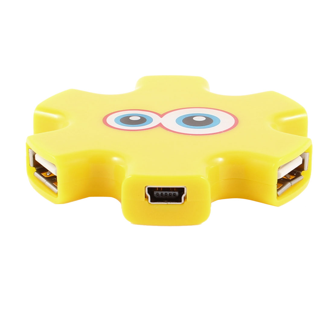 Yellow Plastic High Speed PC USB 2.0 4-Outport Hub Support WindowsXP 7 Linux 2.4