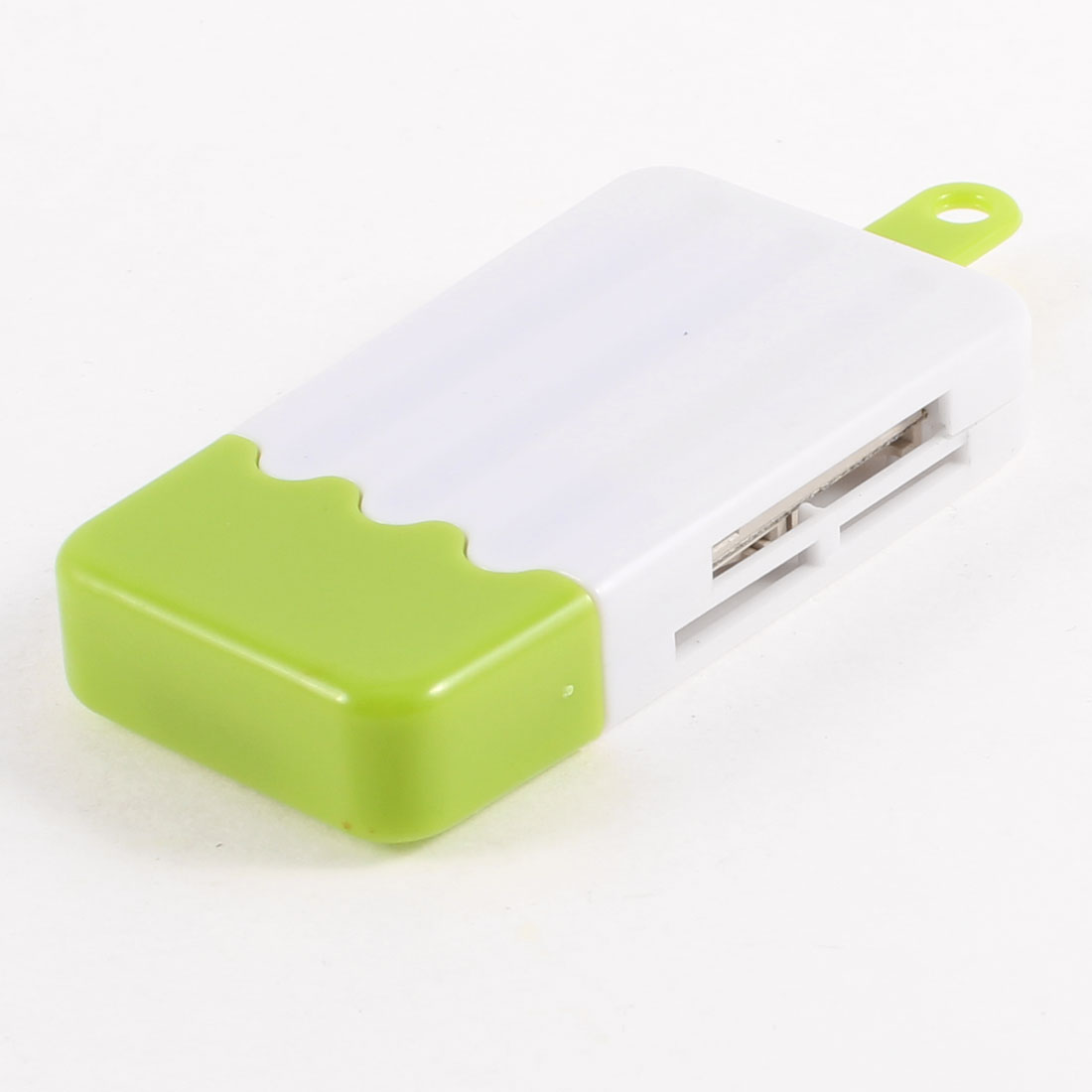 Green White Ice Cream Style 480Mbps USB 2.0 TF Mini SD Card Reader Memory