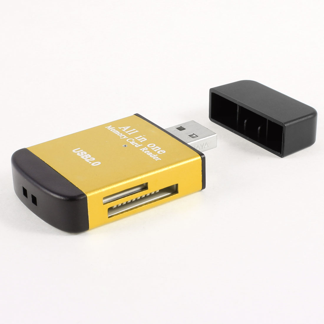 Gold Tone Black Aluminum Alloy Shell All In One USB 2.0 TF Mini SD Card Reader Memory