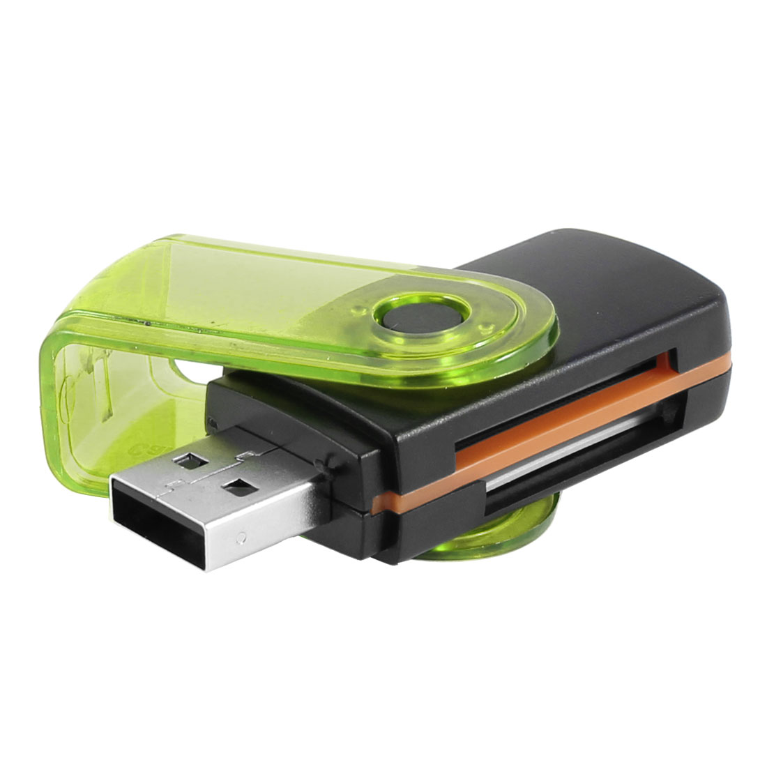 Black Green Swiveling Cover All In One USB 2.0 TF Mini SD Card Reader Memory