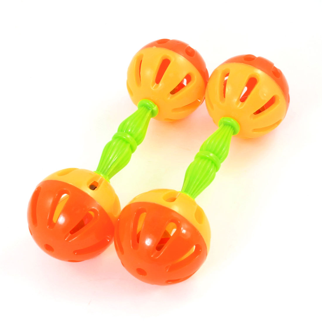 "2 Pcs Kids Two Balls Handle Shaker Hand Shaking Bell Toy 6.5"" Long Orange Yellow"