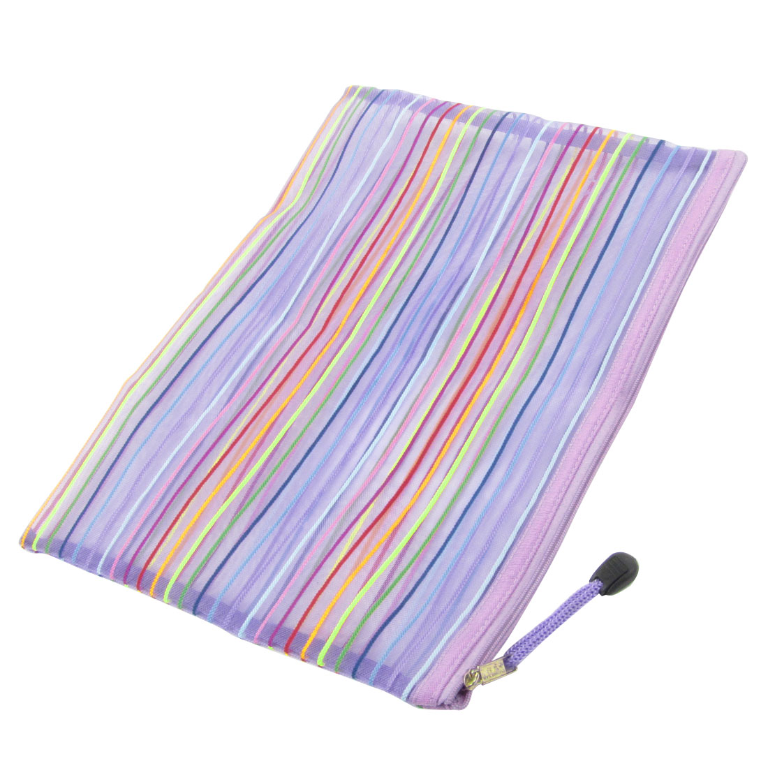 Striped Pattern Sheer Purple Zipper Stationery A4 Paper File Bag