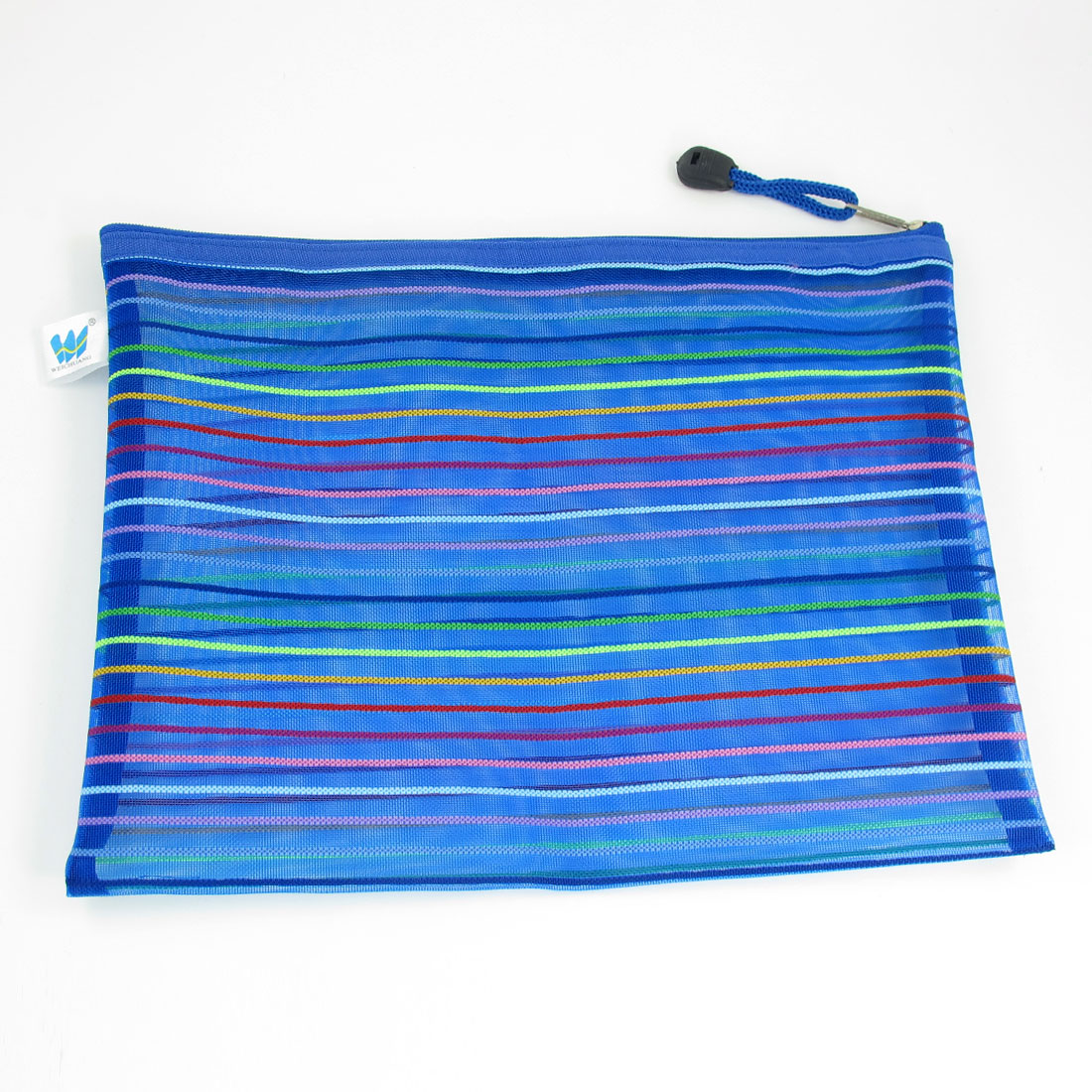 "10.9"" x 8.9"" Striped Pattern Blue Nylon Zipper Closure Stationery File Bag"
