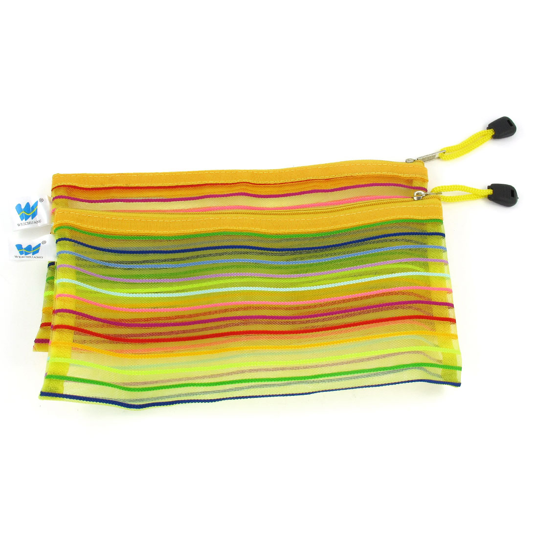 Dark Yellow Meshy Design Zip Closure Nylon File Bag Holder 2 Pcs