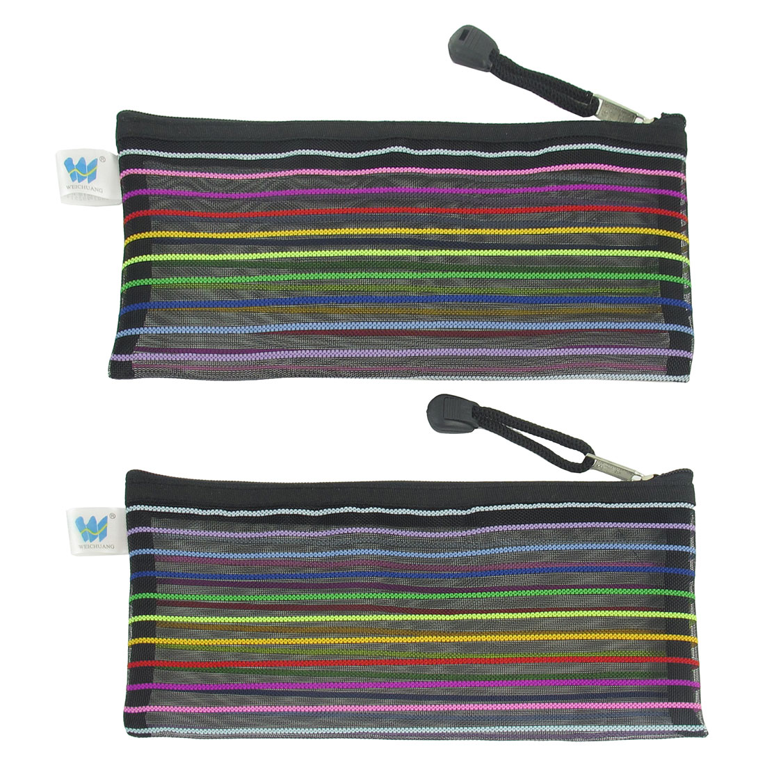 Nylon Multicolor Stripe Pattern Sheer Black File Holder Bag 2 Pcs