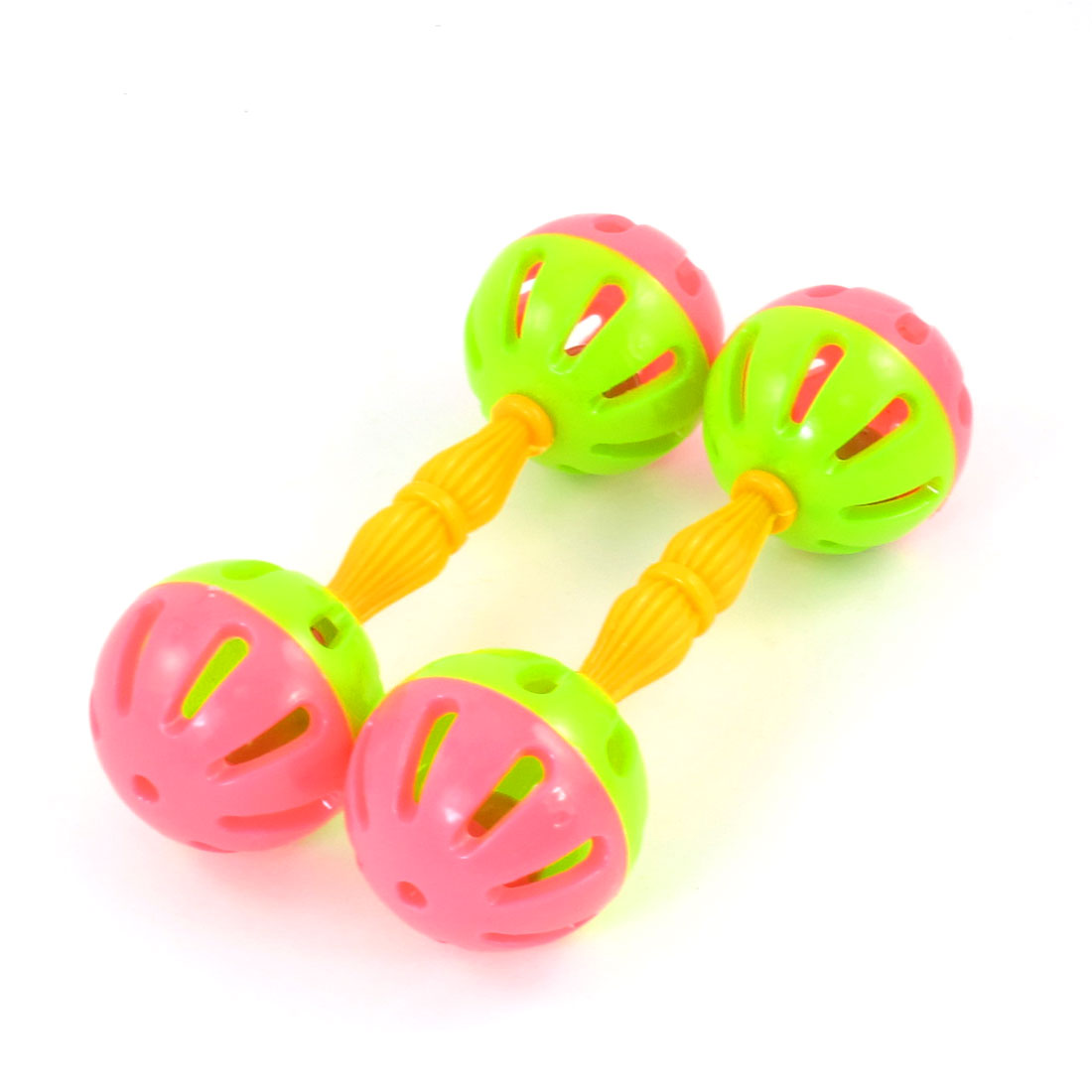 2 Pcs Plastic Stick Rattle Green Pink Hand Shaking Jingle Bell Toy for Child