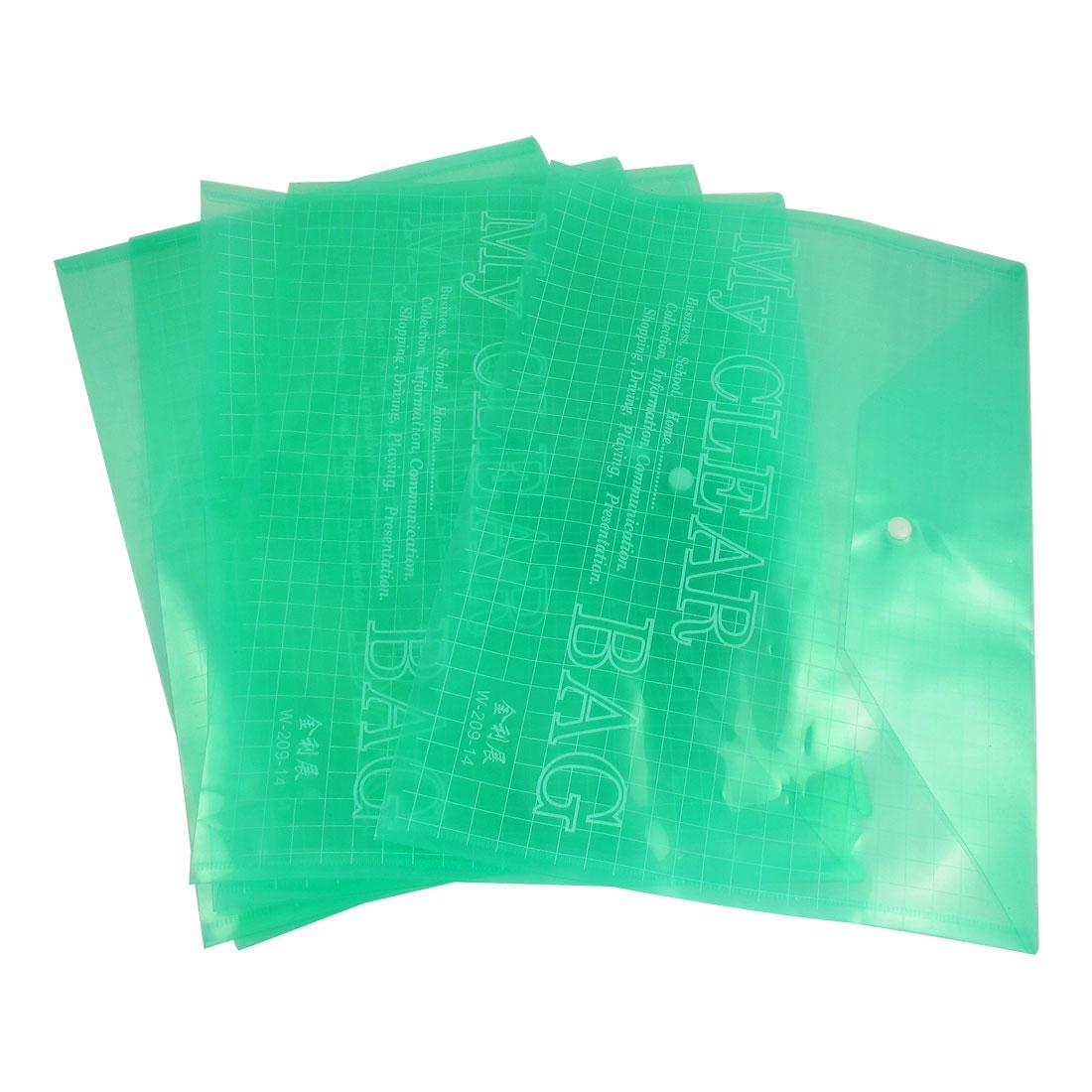 5PCS A9 Paper Clear Green Press Stud Closure Bags for File Folder
