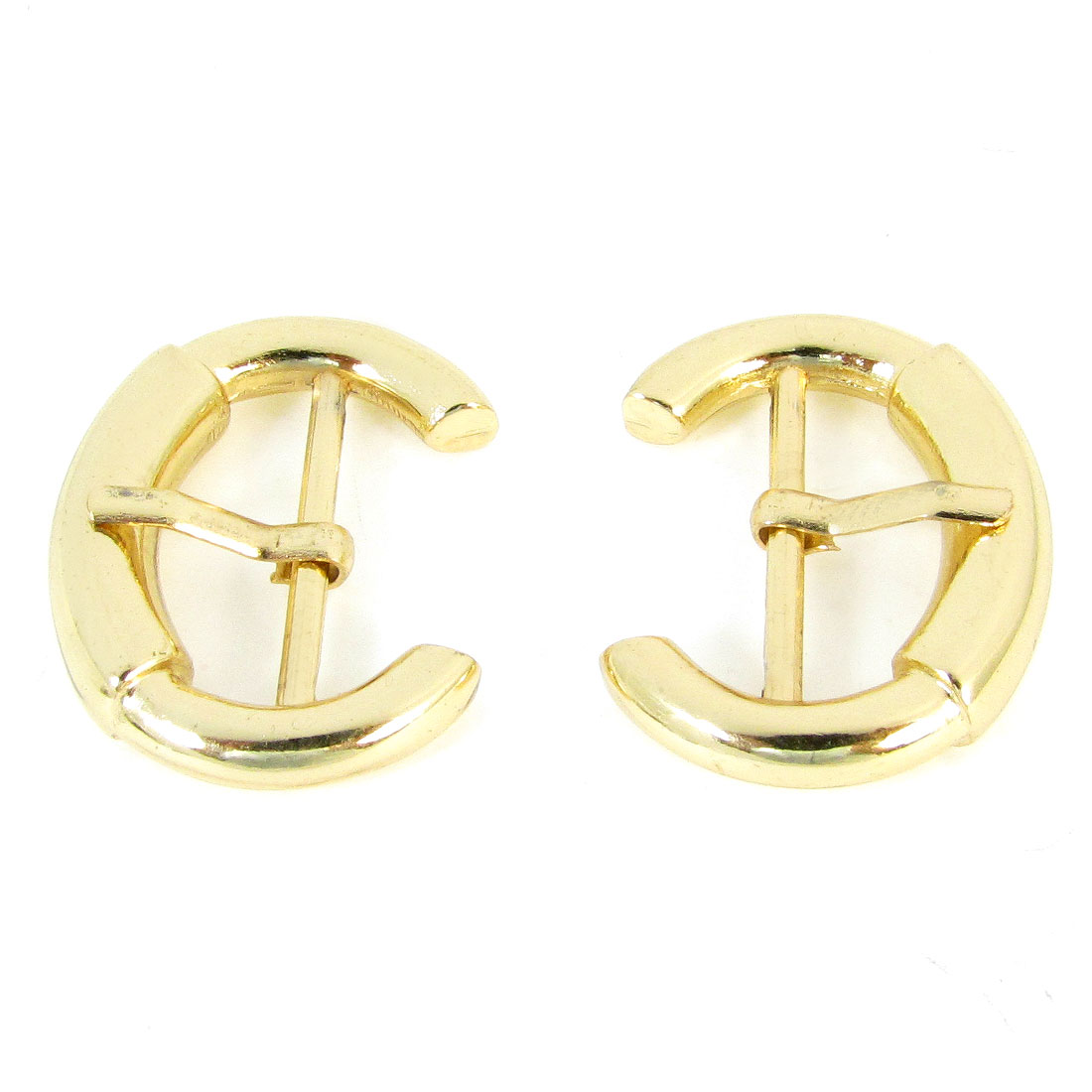 2 PCS Gold Tone Metal Strap Wearing C Shape Pin Buckles for Packsack Shoes