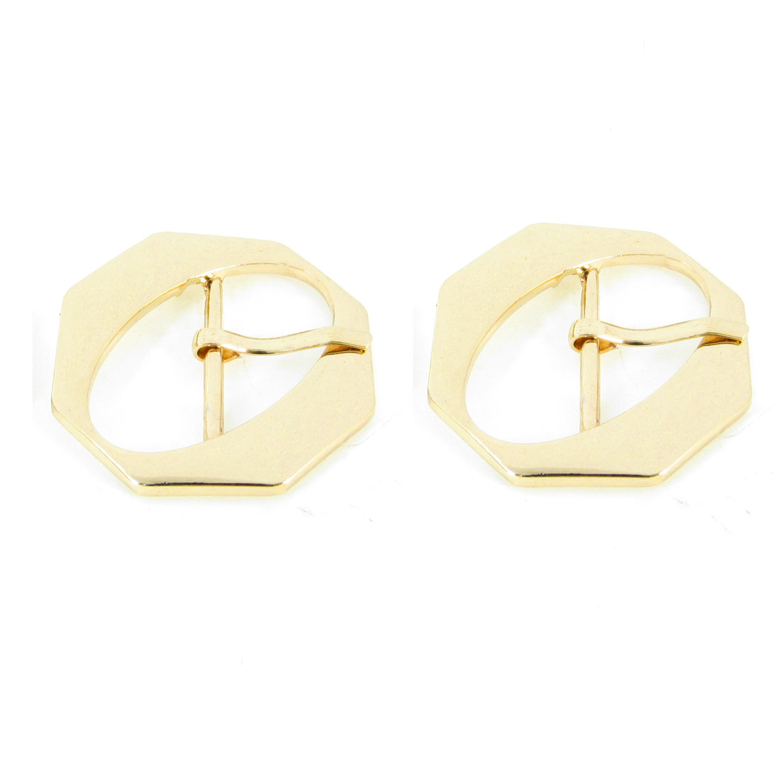 2 Pcs Metal Octagono Shaped High Heel Shoes Component Buckles Gold Tone