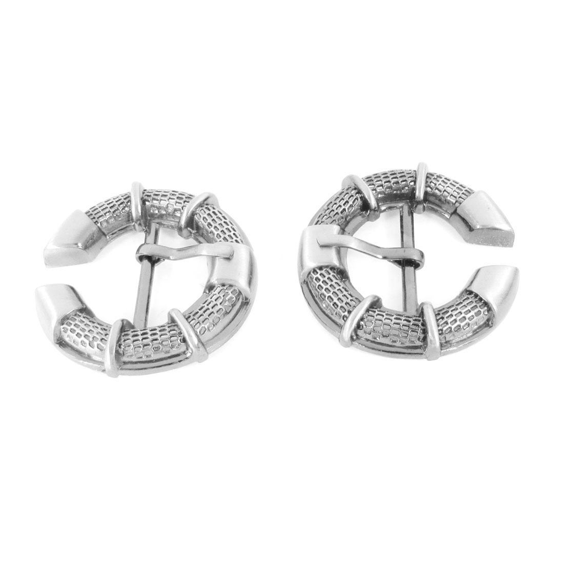 Handbag Shoes Belt Clothes Decor Multifunction Dark Gray Ring Pin Buckles 2Pcs