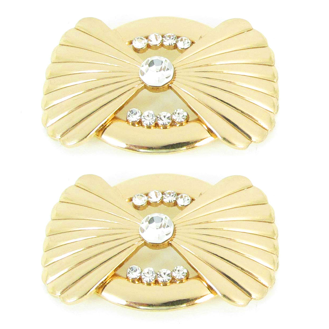 2Pcs Glittery Rhinestones Accent Bowknot Design Pin Buckles for Handbag Shoes