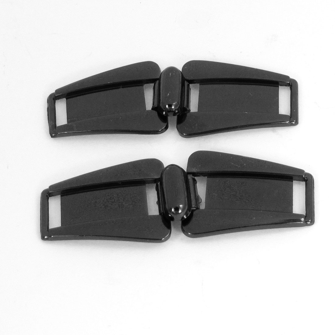 Handbag Shoes Accessories Decor Double Metal Dark Gray Buckle Ends 2Pcs