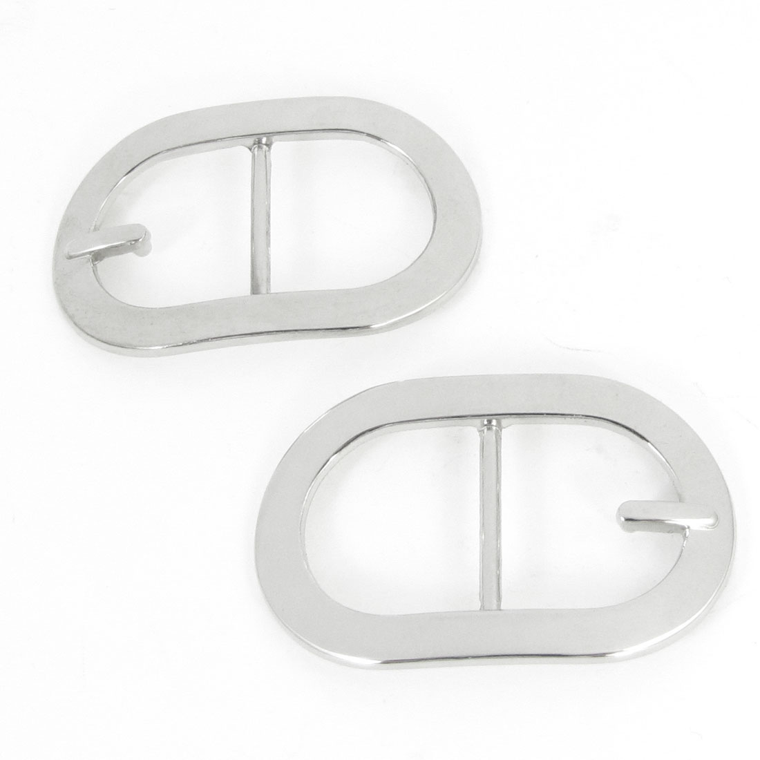 Handbag Ornament Silver Tone Rectangular Oval Shape Strap Wearing Buckle 2 Pcs