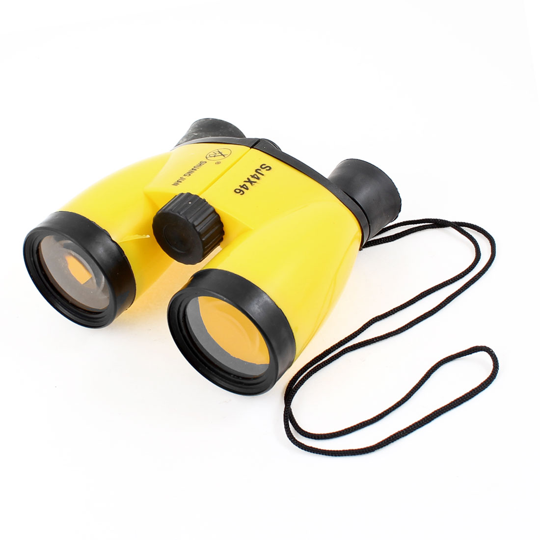Boys Girls Plastic Binoculars 4X46 Telescope Toy Black Yellow w Neck Strap