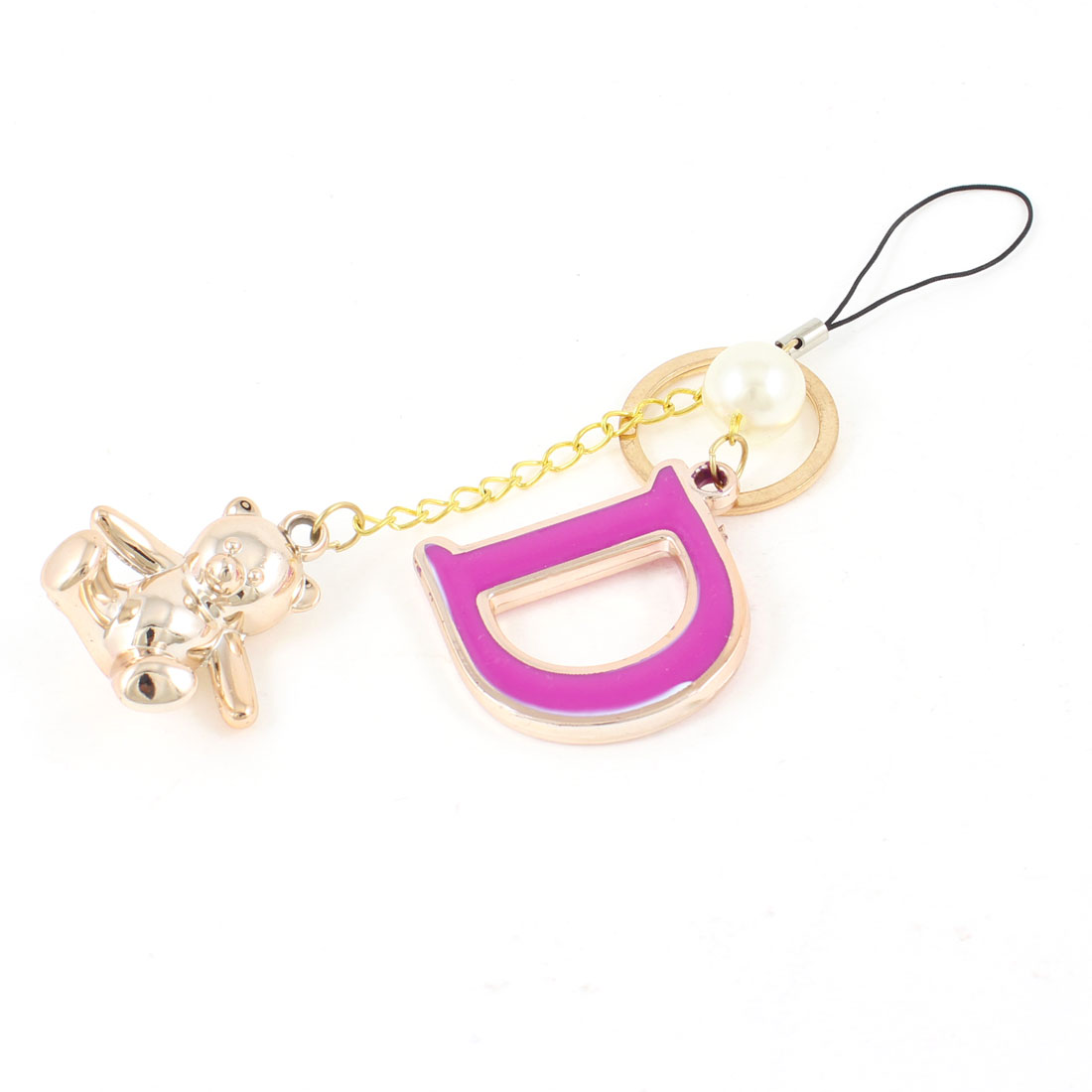 Bear D Shape Pendant Mobile Phone Hanging Keychain Gold Tone Fuchsia