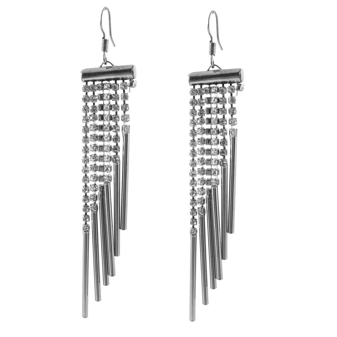 Women Gray Metal Aeolian Bells Design Pendant Dangling Hook Earrings