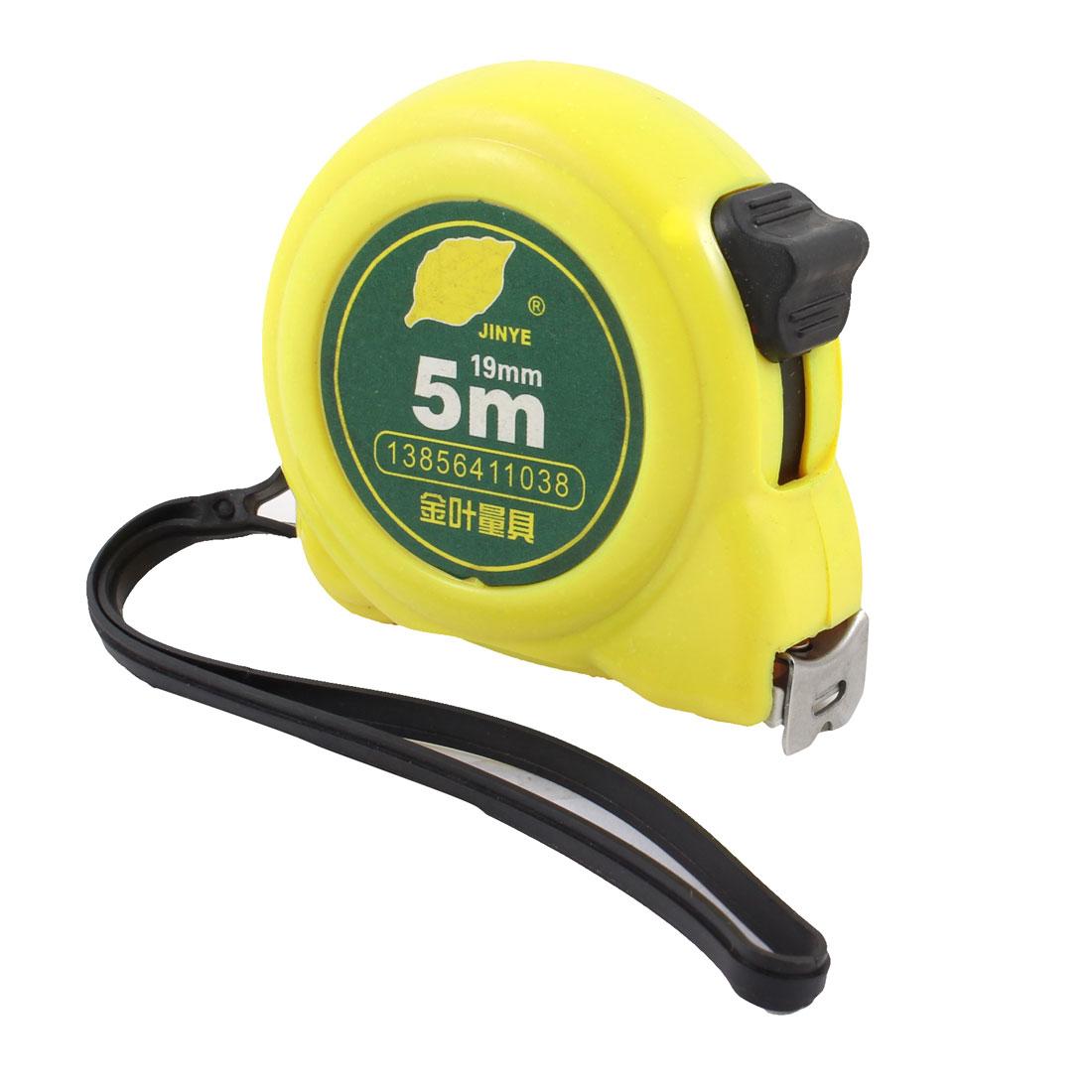 Metric Scale Meters Retractable 5M Steel Measuring Tape Yellow Case